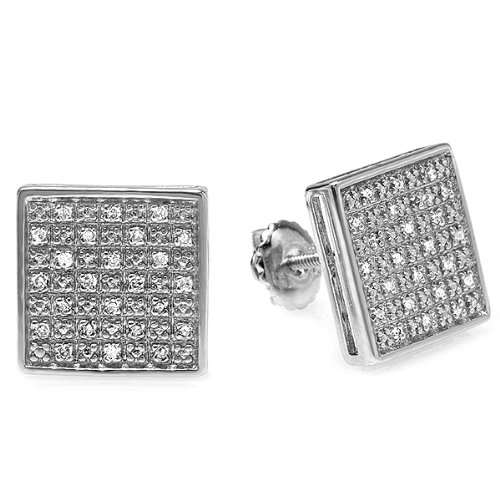 0.33 Carat (ctw) Platinum Plated White Round Diamond Sterling Silver Stud Earrings 11 mm Square Shaped Screwback Post 1/3 CT