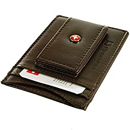 Alpine Swiss Leather Money Clip Magnetic Front Pocket Wallet Strong Thin Magnet