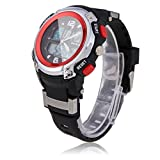 Florentine New Stylish Multifunction Waterproof PU Band Plastic Case Sport Diving Wrist Watch Red