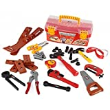 Power Tools Construction Tool Box For Kids With 31 Pcs Pretend Play Tools, Belt And Workshop Accessories Toy Set