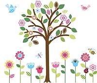 CherryCreek Decals Giant Spring Flower Garden & Tree Baby/Nursery Wall Sticker Decals for Boys and Girls (Tree 4.4 Feet Tall) by Cherry Creek