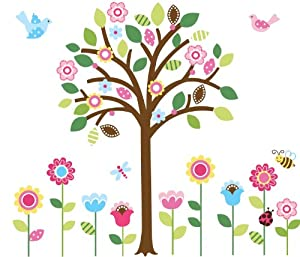 CherryCreek Decals Giant Spring Flower Garden & Tree Baby/Nursery Wall Sticker Decals for Boys and Girls (Tree 4.4 Feet Tall) by Cherry Creek