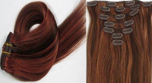 Clip-In-Extensions für komplette Haarverlängerung - hochwertiges Remy-Echthaar - 70g - 38 cm -7tlg- Nr.4/30mischen