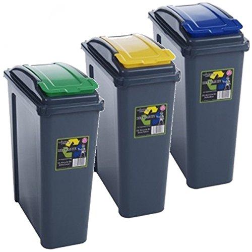 Lot de 3Poubelles de tri sélectif 25l de recyclage en plastique 25l Poubelle de cuisine jardin (Bleu/Jaune/Vert)