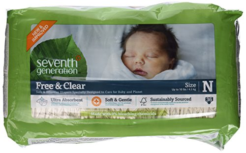 Seventh Generation Baby Diapers Chlorine Free Newborn Up to 10 lbs. 36 count 220954
