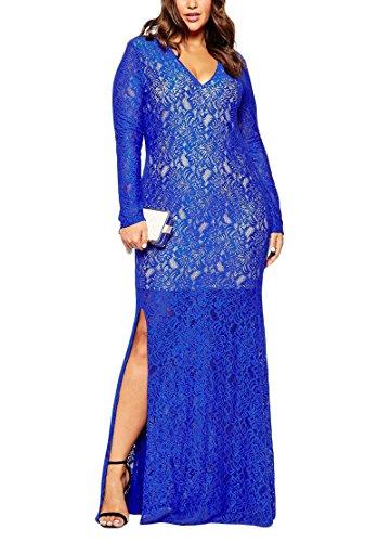 Nemidor Women's Long Sleeve Plus Size Blue Lace Maxi Dress (22