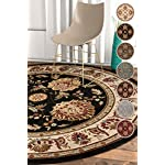 "Sultan Sarouk Black Oriental 5 Round (53"" Round) Area Rug Persian Floral Formal Traditional Area Rug Easy Clean Stain Fade Resistant Shed Free Modern Classic Thick Soft Plush Rug"