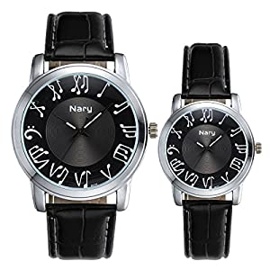 JewelryWe Lovers Fashion Earl Music Notes Waterproof Couples Wrist Watches (One Pair)