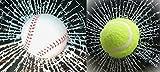 リアルめり込み立体ひび割れボールステッカー2種類セットオリジナル買い物袋付き (テニス&野球)