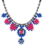 Jane Stone Luxurious Gorgeous Crystal Bloom Necklace Bling-bling Royal Blue and Rosy Rhinestone Pendant Indian Wedding Jewelry Trendy Christmas Gift(Fn0875-Royal Blue)
