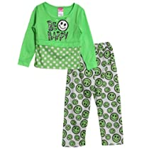 Diva Little Girls 2 Piece Green Polka Dot Knit Pajama Shirt Pants Pjs Set