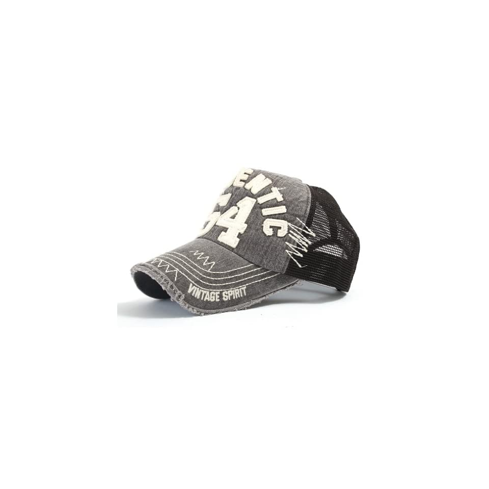 294864ea69a ililily Distressed Vintage Authentic 54 Embroidery Mesh Cap Snapback  Trucker Hat