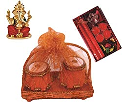 Skylofts Set of 2 Chocolate tablas with a beautiful candle diya set, ganeshji idol Diwali combo