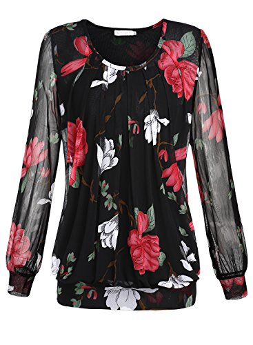 baishenggt-womens-scoop-neck-long-sleeve-pleated-front-mesh-tunic-tops-t-shirt-blouse-black-floral-m