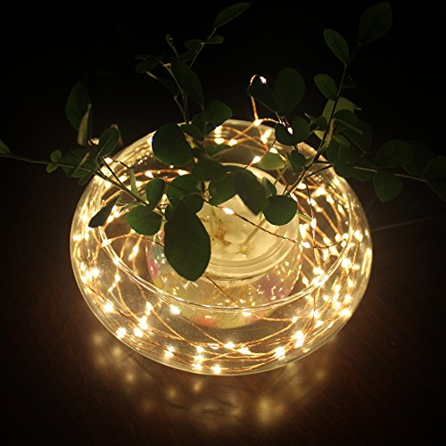 Dephen Solar Powered String Lights ,Copper Wire Starry Novelty Christmas Lights, Decor Rope with 20ft,120leds for Outdoor, Gardens, Holiday, wedding, Christmas Party,Home Decoration(Warm White)