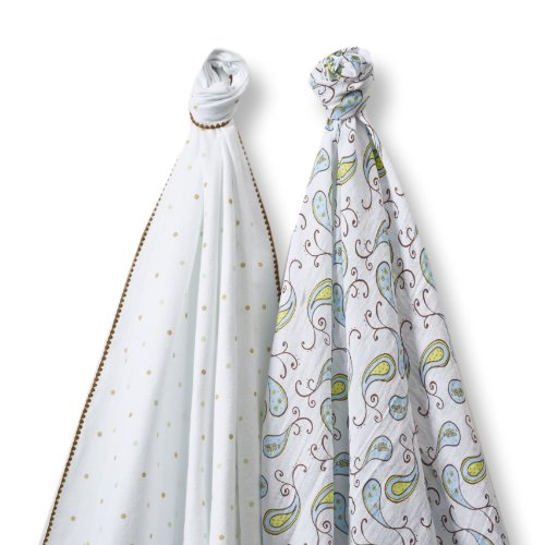 SwaddleDesigns SwaddleDuo, Triplets Paisley Duo (Set of 2 in Kiwi)