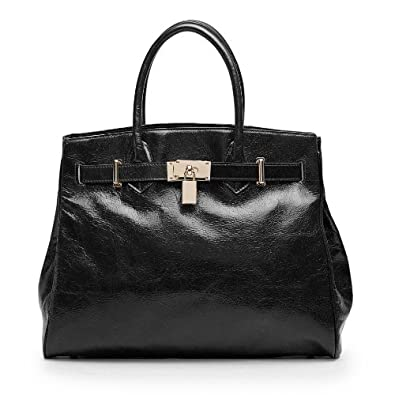 Vicenzo Shelby Brown Distressed Leather Handbag, Black