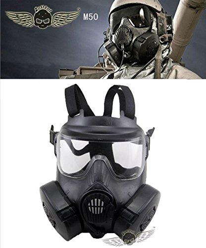 【最新! US M50 ガスマスク 電動ファン 交換レンズ2枚付き!軍用 レプリカ 】 サバイバルゲーム フルフェイス ゴーグル