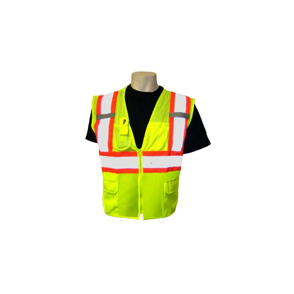Global Glove GLO 0037 FrogWear Class 2 Front Mesh Safety Vest with 3M Reflective Fabric, 2X Large, Lime (Case of 50)