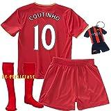 FC FirstClass 2017 Football Soccer Coutinho #10 Liverpool kids Sportwear Kit jersey & shorts &socks &key chain 3-12 Years (3-4 years)