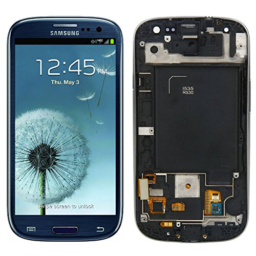 Samsung Galaxy S3 LCD Screen Replacement with Frame SCH-i535 R530 Blue,For Samsung Health(TM)LCD Display Touch Digitizer Screen Replacement Assembly for Samsung S3 SCH-i535 R530 4.8 inch (Display For S3 compare prices)