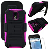 MINITURTLE Rugged Hybrid Dual Layer Armor Protective Phone Armor Case Cover with Built in Kickstand and Swiveling Carrying Belt Holster Clip for the Samsung Galaxy S2 II Hercules SGH-T989 (Black / Pink)