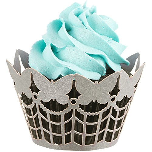 Butterfly Cupcake Wrappers x 50pcs in shimmering silver. 3 styles of butterflies to make your wedding or birthday occasion special. (Silver Fence)