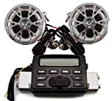 12V Waterproof ATV Motorcycle Audio System Handlebar FM MP3 IPOD Stereo Speaker Audio Sound System AUX Input 2 Speaker for Harley , Motorcycle Cruiser Biker Chopper Cafe Racer ATV