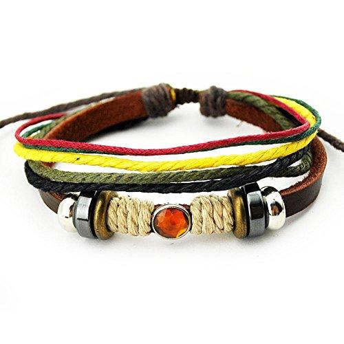 Real Spark Multi Strand Fire Dragon Rhinestone Adjustable Length Leather Single Wrap Bracelet
