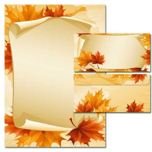 pack-of-20-paper-sheets-set-autumn-leaves-design-plus-10-matching-envelopes-without-window