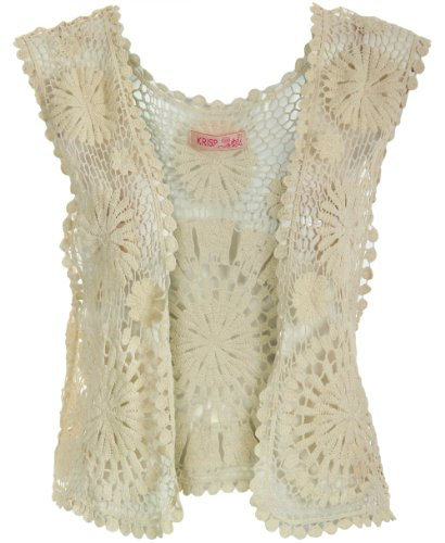 KRISP® Womens Floral Rose Detailed Open Sleeveless Crochet Lace Knitted Waistcoat Top Vest Vintage Retro Casual Boho 9321