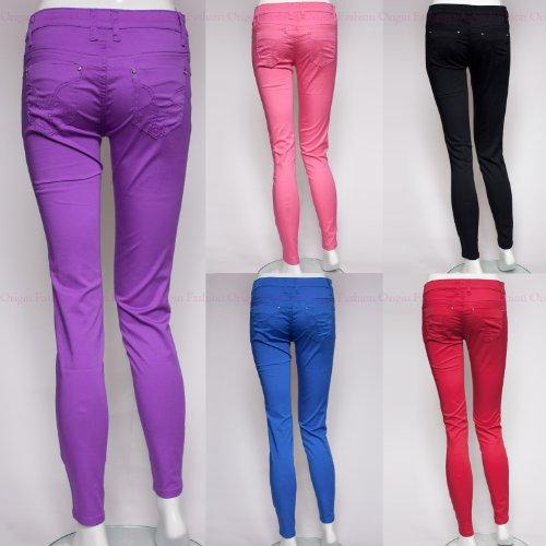 Origin Fashion Womens Skinny Cigarette Trousers Jeans Jeggings Black Red Purple Pink Blue UK Size 8 10 12 14 16