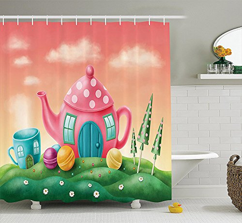 [Fantasy House Decor Collection Fantasy Teapot and Teacup Houses Wonderland Meadow Teatime Happiness Artwork Polyester Fabric Bathroom Shower Curtain Set Pink] (Dr Gregory House Costume)