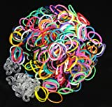 1200 Loom Bands + 50 C Clips - REFILL BAG (Choose Color Pack: Mixed Colors, Navy, White, Black, Red, Turquoise, Lime Green, Yellow, Purple, Ocean Blue, Pink, Orange) 100% Compatible with All Rainbow Loom Bands