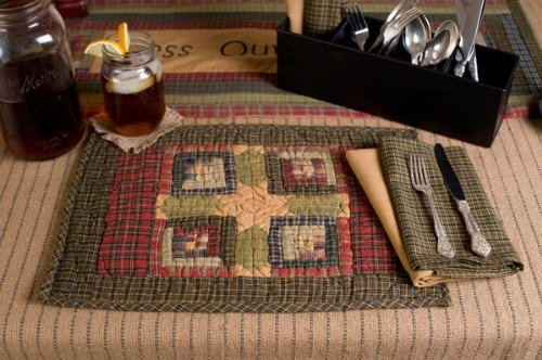 Tea Cabin Placemat Quilted Set Of 2 12X18""