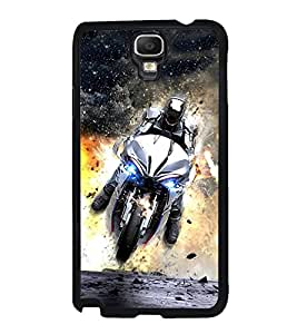 Fuson Premium 2D Back Case Cover Man on bike With Multi Background Degined For Samsung Galaxy Note 3 Neo N7505