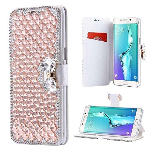 Samsung Galaxy S6 Edge Plus Crystal Butterfly Diamond Wallet Case-Auroralove Gold Luxury Shiny Big Rhinestone Bowknot Soft PU Leather Silk Print Card Slot Case for Samsung Galaxy S6 Edge Plus