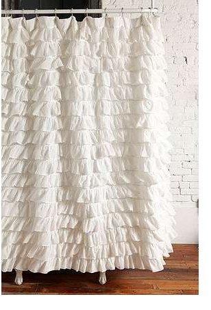 Waterfall Ruffled Fabric Shower Curtain (White) (White Shower Curtain With Ruffles compare prices)