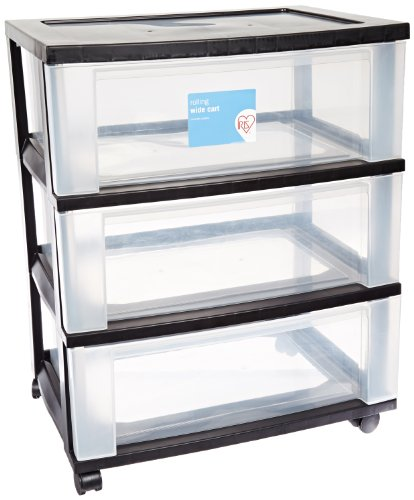 IRIS 3-Drawer Wide Cart, Black (Clothing Storage Drawers compare prices)