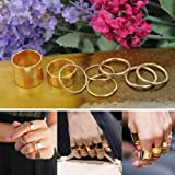 2014 Susenstore Gold 9pcs Urban Gothic Punk Stack Plain Cute Band Midi Knuckle Rings Set