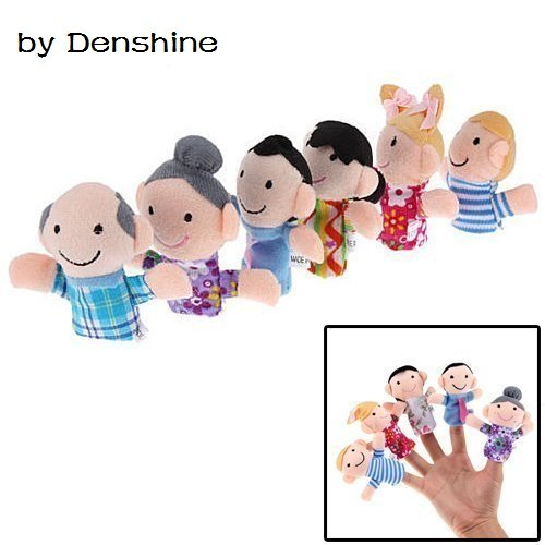 Qiyun 6 Pc Soft Plush My family Finger Puppet Set Includes Grandma Granddad Sister Brother Mom Dad - 1