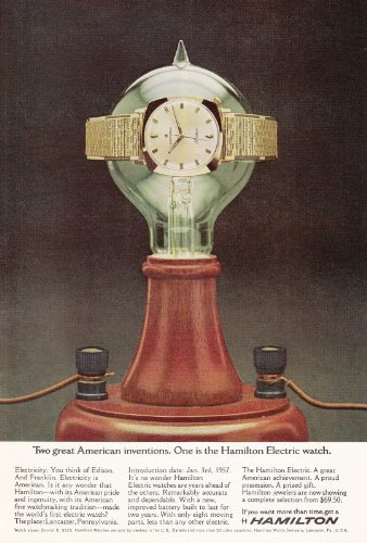 1965 Hamilton Electric Watch: Two Great American Inventions, Hamilton Watches Print Ad