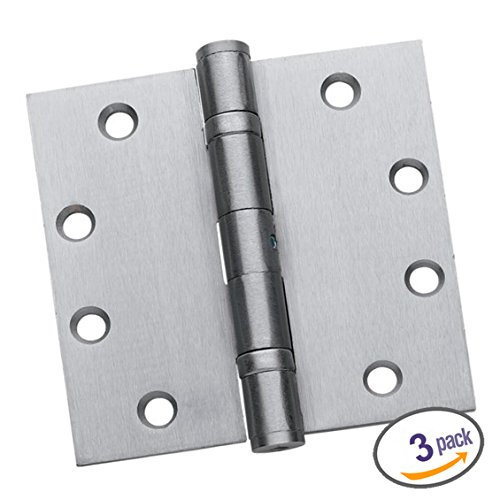 Dynasty Hardware Commercial Grade Ball Bearing Door Hinge 4-1/2 x 4-1/2 Full Mortise Stainless Steel, Non-Removable Pin -- 3- PACK