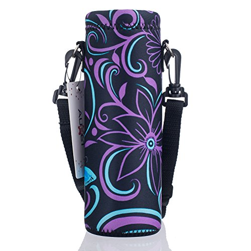 AUPET Water Bottle Carrier,Insulated Neoprene Water bottle Holder Bag Case Pouch Cover 1000ML or 750ML,Adjustable Shoulder Strap, Great for Stainless Steel and Plastic Bottles, Sport and Energy Drinks (Insulated Bottle Sleeve compare prices)