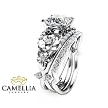 buy Princess Cut Diamond Engagement Ring Set In 14K White Gold Flower Design Custom Rings With Natural Side Diamonds Nature Inspired Wedding Set Unique Alternative Rings