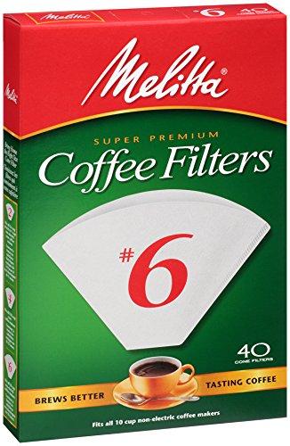 Melitta Cone Coffee Filters, White, No. 6, 40-Count Filters (Pack of 12) (Cone Coffee Filters White compare prices)