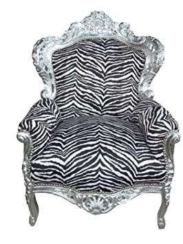 Baroque Armchair 'King' Zebra / silver antique style