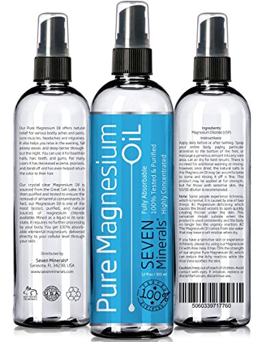 Pure MAGNESIUM OIL ★ Made in USA ★ BIG 12 Ounce! - The Highest Quality 100% Pure & Tested - SEE RESULTS OR MONEY-BACK - Best Magnesium Oil for Sore Muscles, Leg Cramps & Spasms, Restless Legs Syndrome, Joints and Knee Pains, Headaches, Migraines and v... Review
