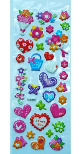 Jazzstick Puffy Dimensional Cute Valentine Flowers & Heart Mini Decorative Sticker (VST07A03)