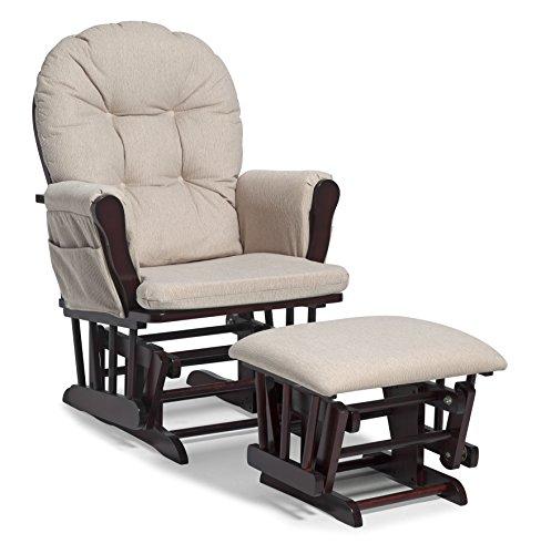 Glider Rocker With Ottoman Nursery Baby Rocking Chair Solid Wood ...